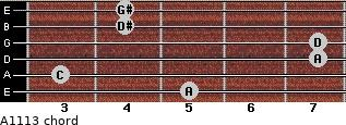 Aº11\13 for guitar on frets 5, 3, 7, 7, 4, 4