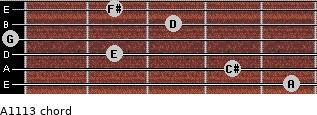 A11/13 for guitar on frets 5, 4, 2, 0, 3, 2