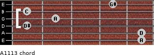Aº11\13 for guitar on frets 5, 5, 1, 2, 1, 4