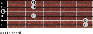 A11/13 for guitar on frets 5, 5, 2, 0, 2, 2