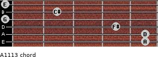 A11/13 for guitar on frets 5, 5, 4, 0, 2, 0