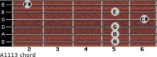 A11/13 for guitar on frets 5, 5, 5, 6, 5, 2