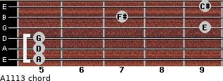A11/13 for guitar on frets 5, 5, 5, 9, 7, 9