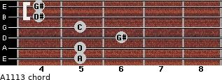 Aº11\13 for guitar on frets 5, 5, 6, 5, 4, 4
