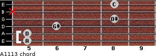 Aº11\13 for guitar on frets 5, 5, 6, 8, x, 8
