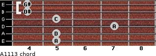 Aº11\13 for guitar on frets 5, 5, 7, 5, 4, 4