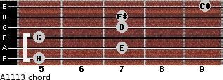 A11/13 for guitar on frets 5, 7, 5, 7, 7, 9