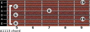 A11/13 for guitar on frets 5, 9, 5, 7, 5, 9