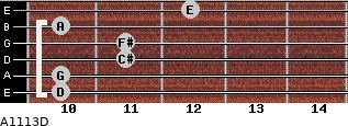 A11/13/D for guitar on frets 10, 10, 11, 11, 10, 12