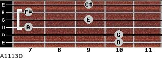 A11/13/D for guitar on frets 10, 10, 7, 9, 7, 9