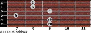 A11/13/Db add(m3) guitar chord