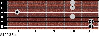 Aº11\13\Eb for guitar on frets 11, 11, 10, 7, 10, 10