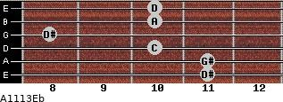 Aº11\13\Eb for guitar on frets 11, 11, 10, 8, 10, 10