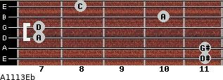 Aº11\13\Eb for guitar on frets 11, 11, 7, 7, 10, 8
