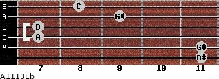 Aº11\13\Eb for guitar on frets 11, 11, 7, 7, 9, 8