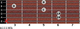 Aº11\13\Eb for guitar on frets x, 6, 6, 5, 3, 5