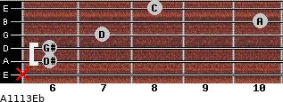 Aº11\13\Eb for guitar on frets x, 6, 6, 7, 10, 8