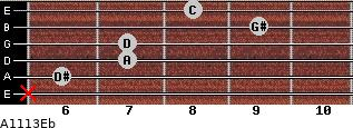 Aº11\13\Eb for guitar on frets x, 6, 7, 7, 9, 8