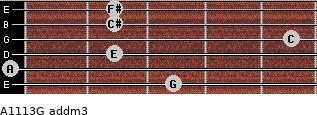 A11/13/G add(m3) for guitar on frets 3, 0, 2, 5, 2, 2