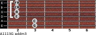 A11/13/G add(m3) for guitar on frets 3, 3, 2, 2, 2, 2