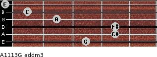 A11/13/G add(m3) for guitar on frets 3, 4, 4, 2, 1, 0