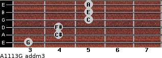 A11/13/G add(m3) for guitar on frets 3, 4, 4, 5, 5, 5