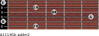 A11/13/Gb add(m2) for guitar on frets 2, 0, 5, 3, 2, 0