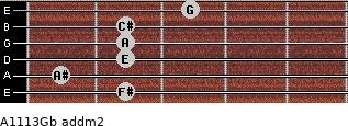 A11/13/Gb add(m2) for guitar on frets 2, 1, 2, 2, 2, 3