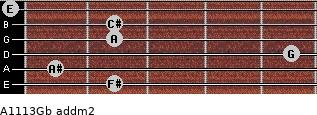 A11/13/Gb add(m2) for guitar on frets 2, 1, 5, 2, 2, 0
