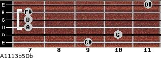 A11/13b5/Db for guitar on frets 9, 10, 7, 7, 7, 11