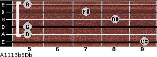 A11/13b5/Db for guitar on frets 9, 5, 5, 8, 7, 5