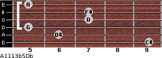 A11/13b5/Db for guitar on frets 9, 6, 5, 7, 7, 5
