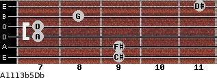 A11/13b5/Db for guitar on frets 9, 9, 7, 7, 8, 11