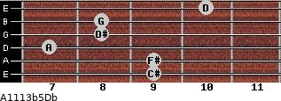 A11/13b5/Db for guitar on frets 9, 9, 7, 8, 8, 10
