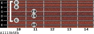 A11/13b5/Eb for guitar on frets 11, 10, 11, 11, 10, 10