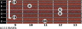 A11/13b5/Eb for guitar on frets 11, 9, 12, 12, 10, 9