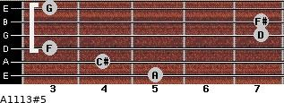 A11/13#5 for guitar on frets 5, 4, 3, 7, 7, 3