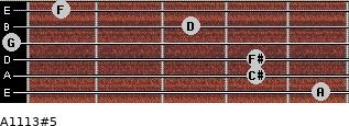 A11/13#5 for guitar on frets 5, 4, 4, 0, 3, 1