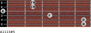 A11/13#5 for guitar on frets 5, 5, 3, 0, 2, 2