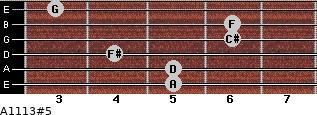 A11/13#5 for guitar on frets 5, 5, 4, 6, 6, 3