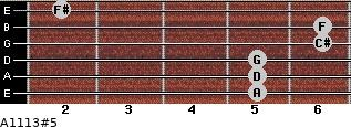 A11/13#5 for guitar on frets 5, 5, 5, 6, 6, 2