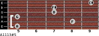 A11/13#5 for guitar on frets 5, 8, 5, 7, 7, 9