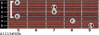 A11/13#5/Db for guitar on frets 9, 8, 5, 7, 7, 5