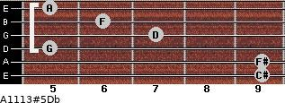 A11/13#5/Db for guitar on frets 9, 9, 5, 7, 6, 5