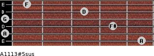 A11/13#5sus for guitar on frets 5, 0, 4, 0, 3, 1