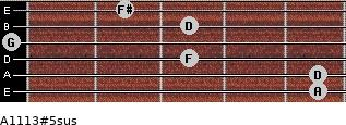 A11/13#5sus for guitar on frets 5, 5, 3, 0, 3, 2
