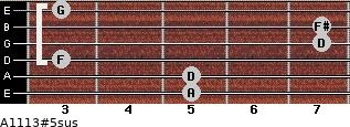 A11/13#5sus for guitar on frets 5, 5, 3, 7, 7, 3