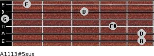 A11/13#5sus for guitar on frets 5, 5, 4, 0, 3, 1
