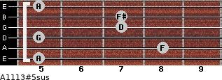A11/13#5sus for guitar on frets 5, 8, 5, 7, 7, 5