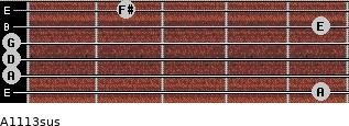 A11/13sus for guitar on frets 5, 0, 0, 0, 5, 2